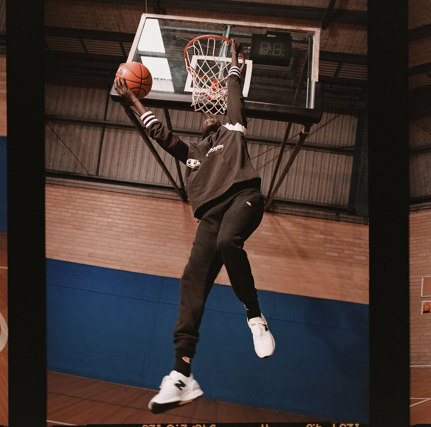Gabriel Khamis dunks in Champion for The Iconic sport campaign